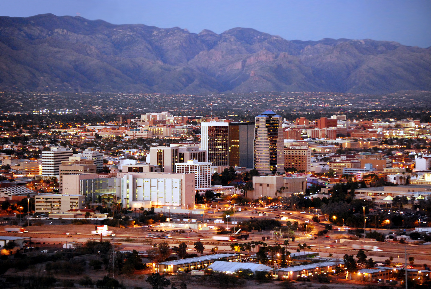 Tucson skyline after dark